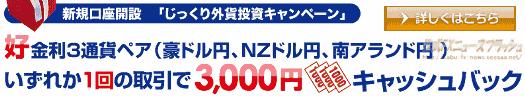 セントラル短資FX FXダイレクト FXハイパー キャンペーン キャッシュバック 3000円(2010年3月31日(水)まで)