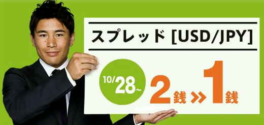 サイバーエージェントFX 外貨ex 米ドル/円 USD/JPY スプレッド 1銭 1pips