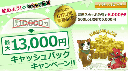 EMCOM証券 エンコム証券 みんなのFX キャンペーン キャッシュバック 8,000円(2010年7月1日(木)まで)