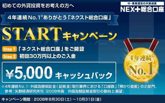 外為どっとコム キャンペーン キャッシュバック 5000円 NEXT総合口座 ネクスト総合口座
