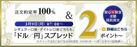 ひまわり証券 マージンFX レギュラー口座 米ドル/円スプレッド 2pip 2銭 縮小