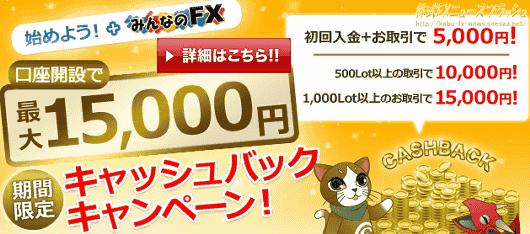 みんなのFX みんなのバイナリー キャンペーン キャッシュバック 5,000円