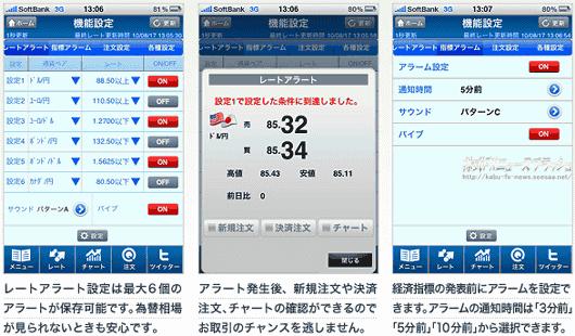 クイックトレード for iPhone アラート アラーム機能