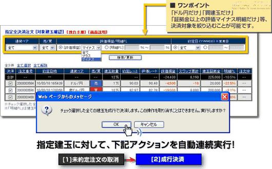 戦略記憶ボード 指定全決済注文