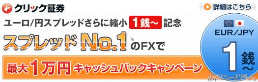 クリック証券FX キャンペーン キャッシュバック 最大1万円(2010年2月10日(水)まで)