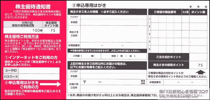 コカコーラボトラーズジャパンHD 株主優待通知書 株主優待申込み葉書