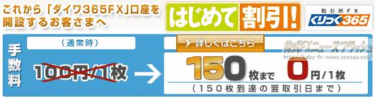 大和証券 ダイワ365FX くりっく365 手数料無料 キャンペーン