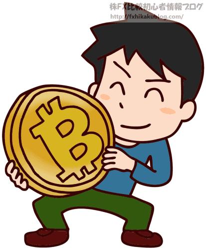 大きなビットコインを持つ男性
