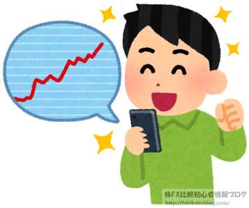 男性 スマホ 投資 株 FX チャート 上昇 急騰