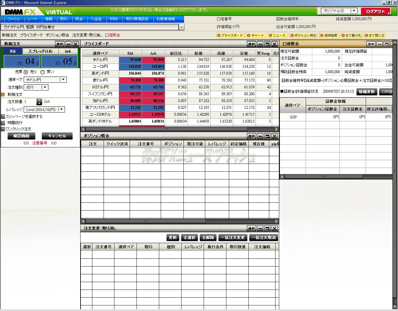 DMM.com証券 DMMFX バーチャル取引 バーチャルFX デモ取引 取引画面