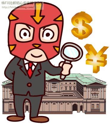 虫眼鏡を持った覆面のサラリーマン 日銀 ドル 円