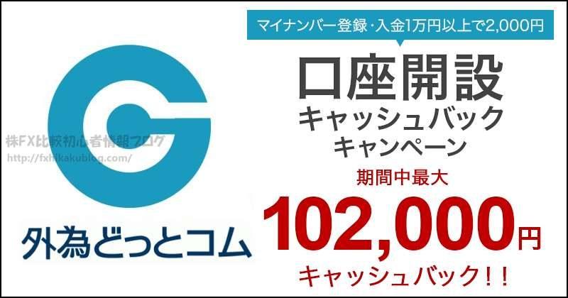 外為どっとコム キャッシュバック キャンペーン 最大102000円