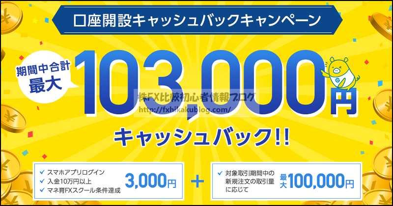 外為どっとコム 外貨ネクストネオ キャンペーン キャッシュバック 103,000円