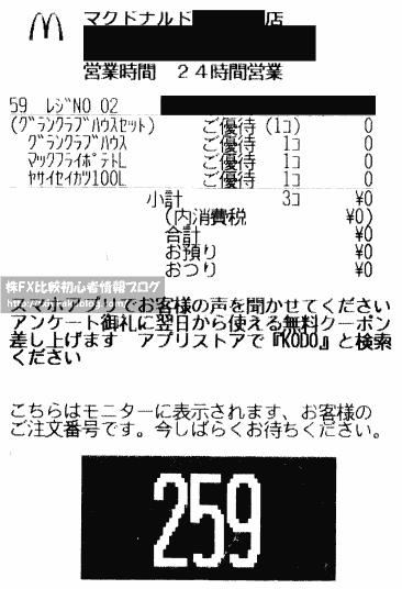 グランクラブハウス 株主優待 レシート