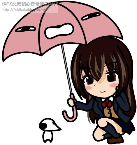雨に濡れる動物に傘を差し出す女子高生