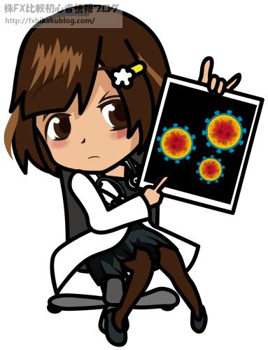 コロナウイルスの写真を見せる女医