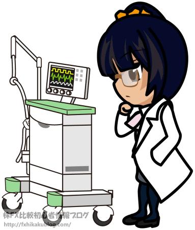 人工呼吸器を見る女医