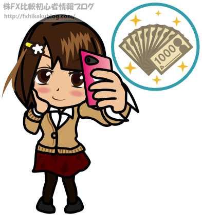 女性 女の子 スマホ 千円札束