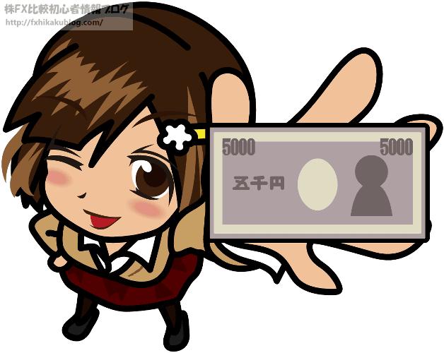 21ウィンクしながら5000円札を見せる女性