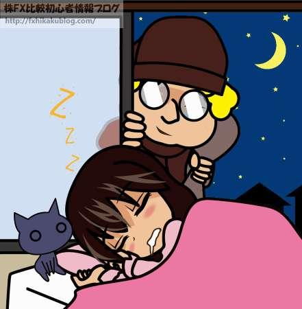 寝ている女性の家に窓から入ってくる外人の泥棒