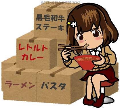 女性 女の子 ラーメンを食べる ダンボール箱の山