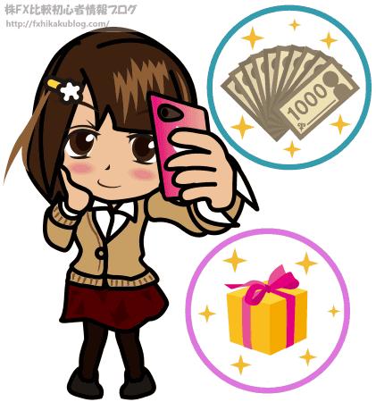 女性 女の子 スマホ 千円札束 プレゼント