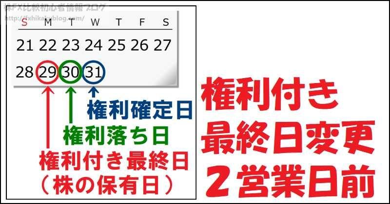 権利付き最終日変更 2営業日前