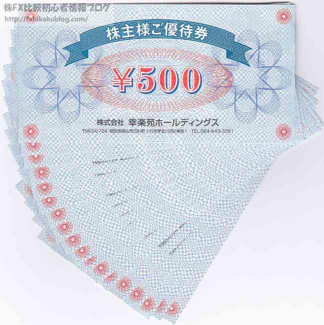 幸楽苑 株主優待 食事券 1万円分