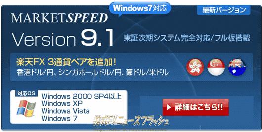 マーケットスピード9.1 マケスピ MarketSpeed Windows7 64ビット版 対応