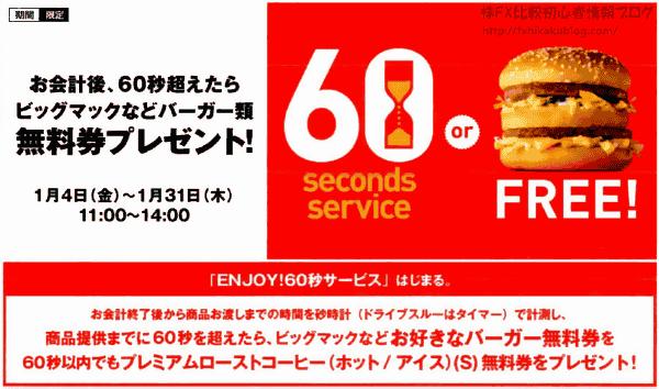 マクドナルド ENJOY!60秒サービス