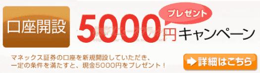 マネックス証券 キャンペーン 5000円 プレゼント(2010年7月30日(金)まで)
