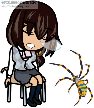 椅子に座って居眠りするOLと蜘蛛