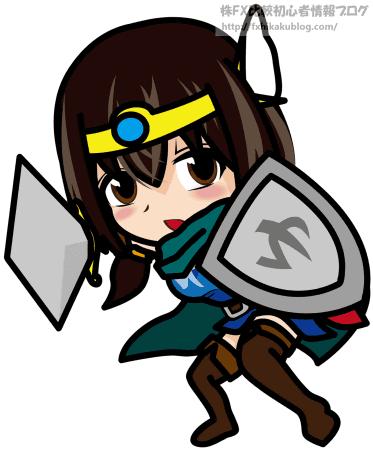 18剣と盾を構える女勇者