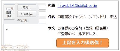 SBI FXトレード キャンペーン 申込み方法 エントリー