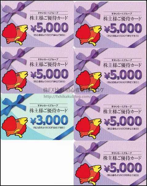すかいらーく 株主優待 株主様ご優待カード 33,000円分(5,000円×6枚+3,000円×1枚)