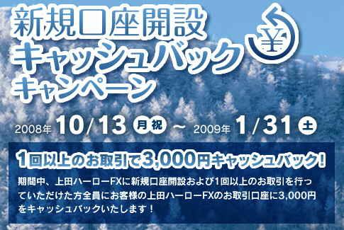 上田ハーロFX キャンペーン キャッシュバック3千円(2009年1月31日(土)まで)