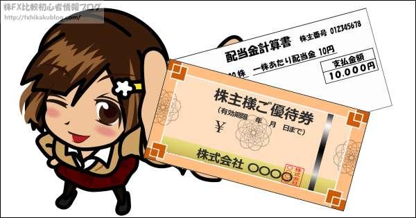 株主様ご優待券 配当金計算書を持つ女性 女の子